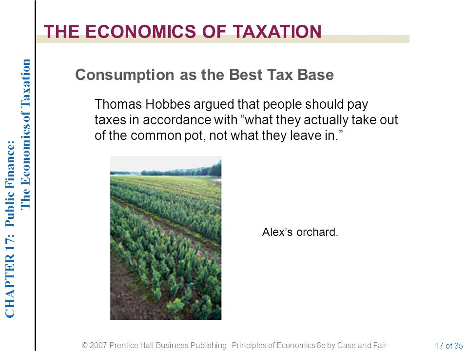 CHAPTER 17: Public Finance: The Economics of Taxation © 2007 Prentice Hall Business Publishing Principles of Economics 8e by Case and Fair 17 of 35 THE ECONOMICS OF TAXATION Consumption as the Best Tax Base Thomas Hobbes argued that people should pay taxes in accordance with what they actually take out of the common pot, not what they leave in. Alex's orchard.
