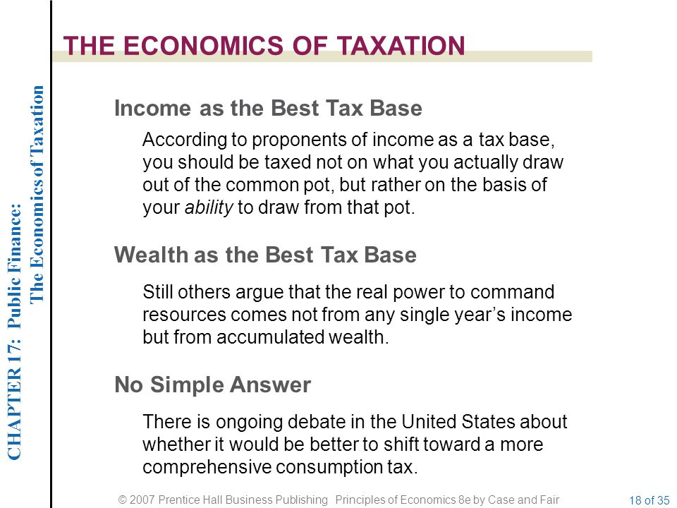 CHAPTER 17: Public Finance: The Economics of Taxation © 2007 Prentice Hall Business Publishing Principles of Economics 8e by Case and Fair 18 of 35 THE ECONOMICS OF TAXATION Income as the Best Tax Base Wealth as the Best Tax Base According to proponents of income as a tax base, you should be taxed not on what you actually draw out of the common pot, but rather on the basis of your ability to draw from that pot.