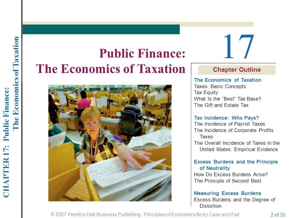 CHAPTER 17: Public Finance: The Economics of Taxation © 2007 Prentice Hall Business Publishing Principles of Economics 8e by Case and Fair 23 of 35 TAX INCIDENCE: WHO PAYS.