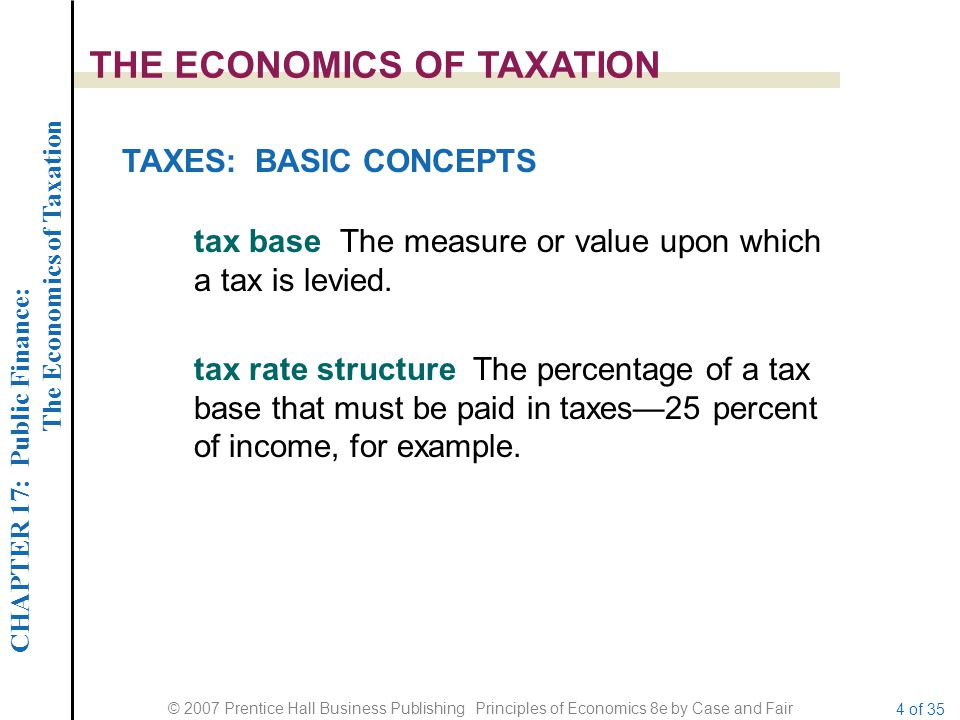 CHAPTER 17: Public Finance: The Economics of Taxation © 2007 Prentice Hall Business Publishing Principles of Economics 8e by Case and Fair 4 of 35 THE