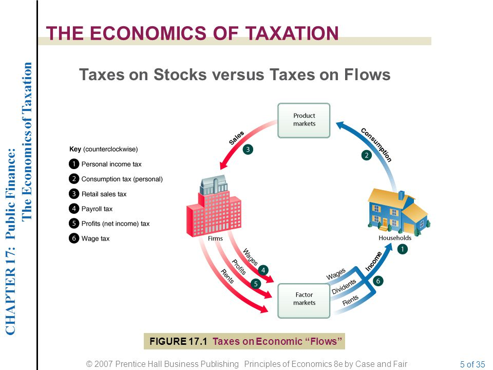 CHAPTER 17: Public Finance: The Economics of Taxation © 2007 Prentice Hall Business Publishing Principles of Economics 8e by Case and Fair 5 of 35 THE ECONOMICS OF TAXATION Taxes on Stocks versus Taxes on Flows FIGURE 17.1 Taxes on Economic Flows