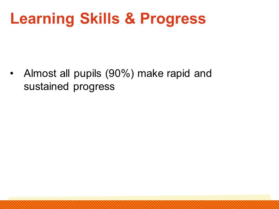 Almost all pupils (90%) make rapid and sustained progress