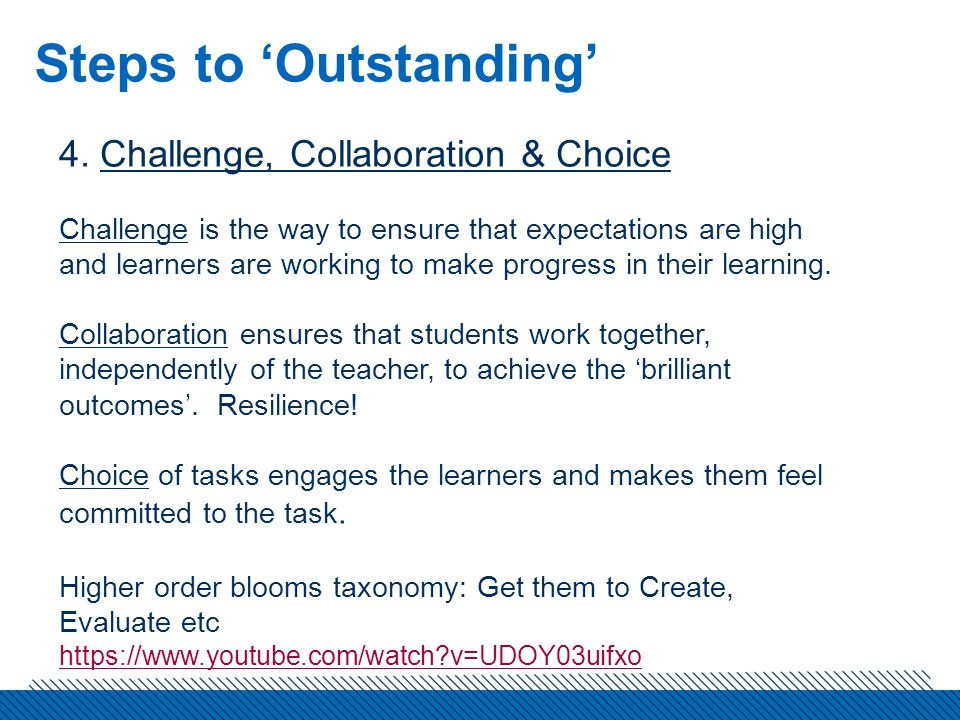 Steps to 'Outstanding' 4.