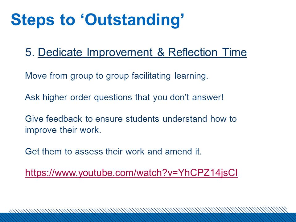 Steps to 'Outstanding' 5.