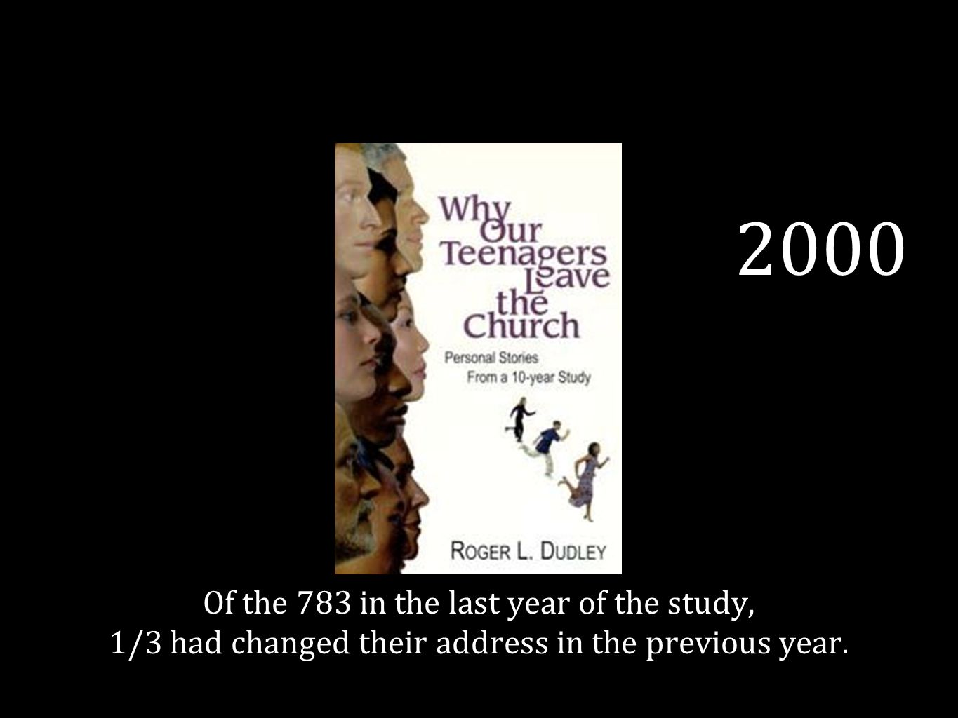 2000 Of the 783 in the last year of the study, 1/3 had changed their address in the previous year.
