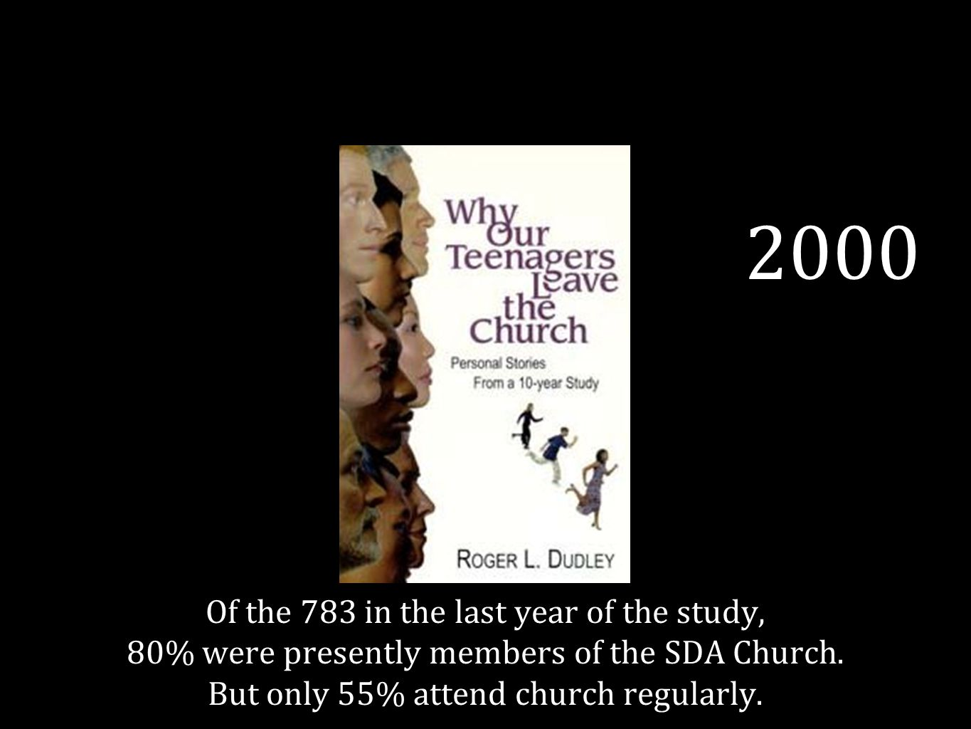 2000 Of the 783 in the last year of the study, 80% were presently members of the SDA Church.