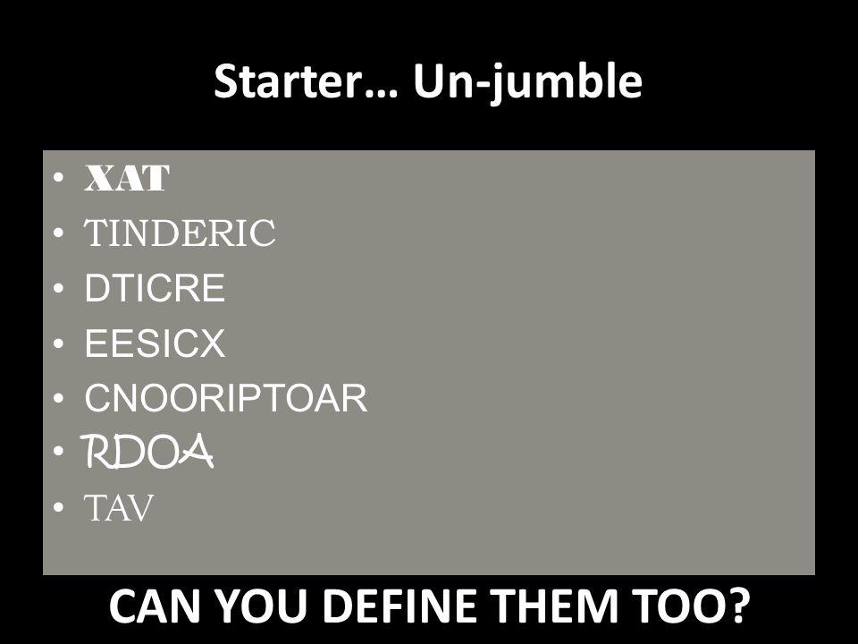 Starter… Un-jumble XAT TINDERIC DTICRE EESICX CNOORIPTOAR RDOA TAV CAN YOU DEFINE THEM TOO