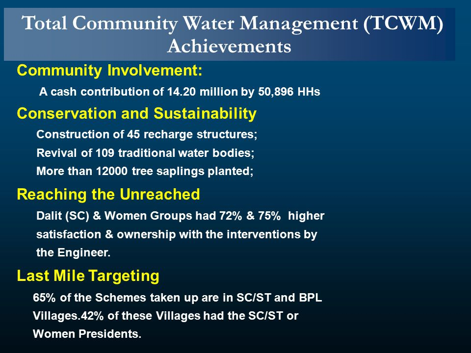 Community Involvement: A cash contribution of 14.20 million by 50,896 HHs Conservation and Sustainability Construction of 45 recharge structures; Revival of 109 traditional water bodies; More than 12000 tree saplings planted; Reaching the Unreached Dalit (SC) & Women Groups had 72% & 75% higher satisfaction & ownership with the interventions by the Engineer.
