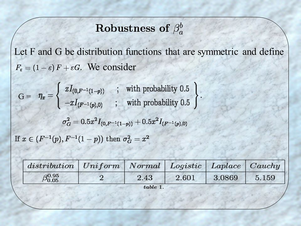 Let F and G be distribution functions that are symmetric and define We consider G =