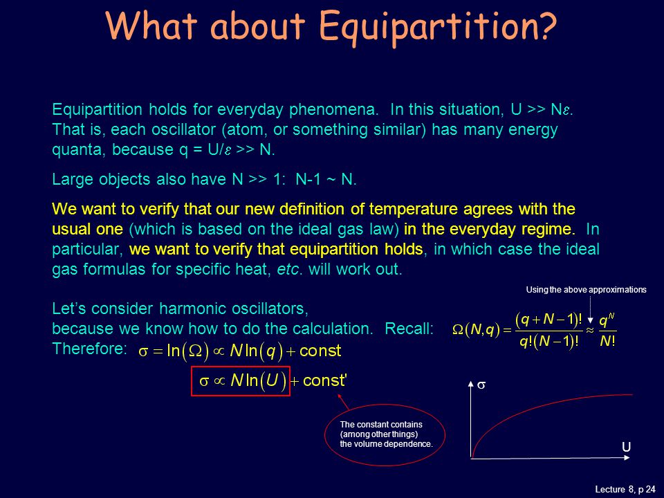 Lecture 8, p 24 What about Equipartition. Equipartition holds for everyday phenomena.