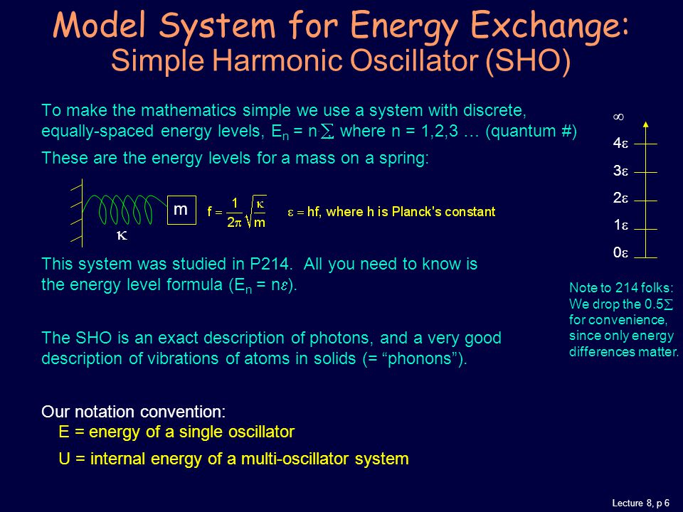 Lecture 8, p 6 Model System for Energy Exchange: Simple Harmonic Oscillator (SHO) To make the mathematics simple we use a system with discrete, equally-spaced energy levels, E n = n.