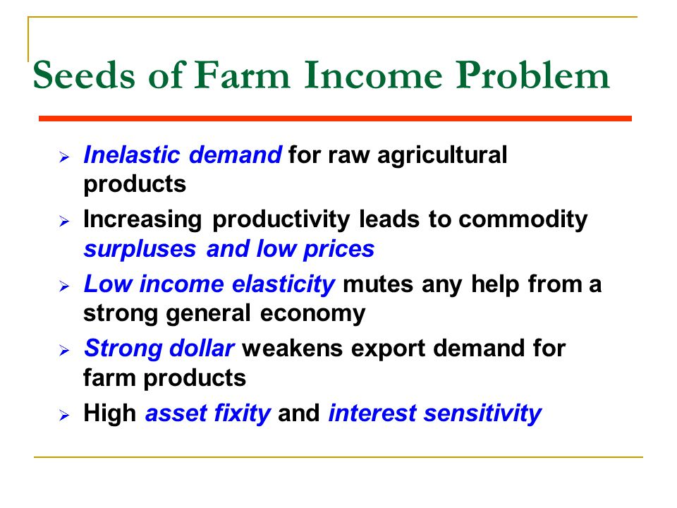 Seeds of Farm Income Problem  Inelastic demand for raw agricultural products  Increasing productivity leads to commodity surpluses and low prices 