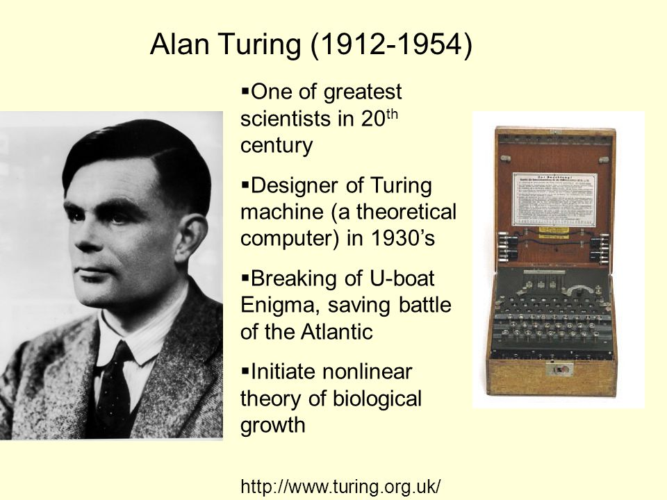 Alan Turing (1912-1954)  One of greatest scientists in 20 th century  Designer of Turing machine (a theoretical computer) in 1930's  Breaking of U-boat Enigma, saving battle of the Atlantic  Initiate nonlinear theory of biological growth http://www.turing.org.uk/