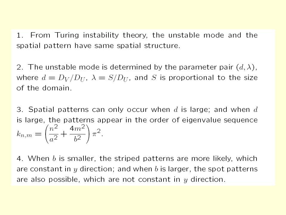 Effect of scale on pattern very small domain: lambda is small, there is no spatial pattern, and the constant is stable.