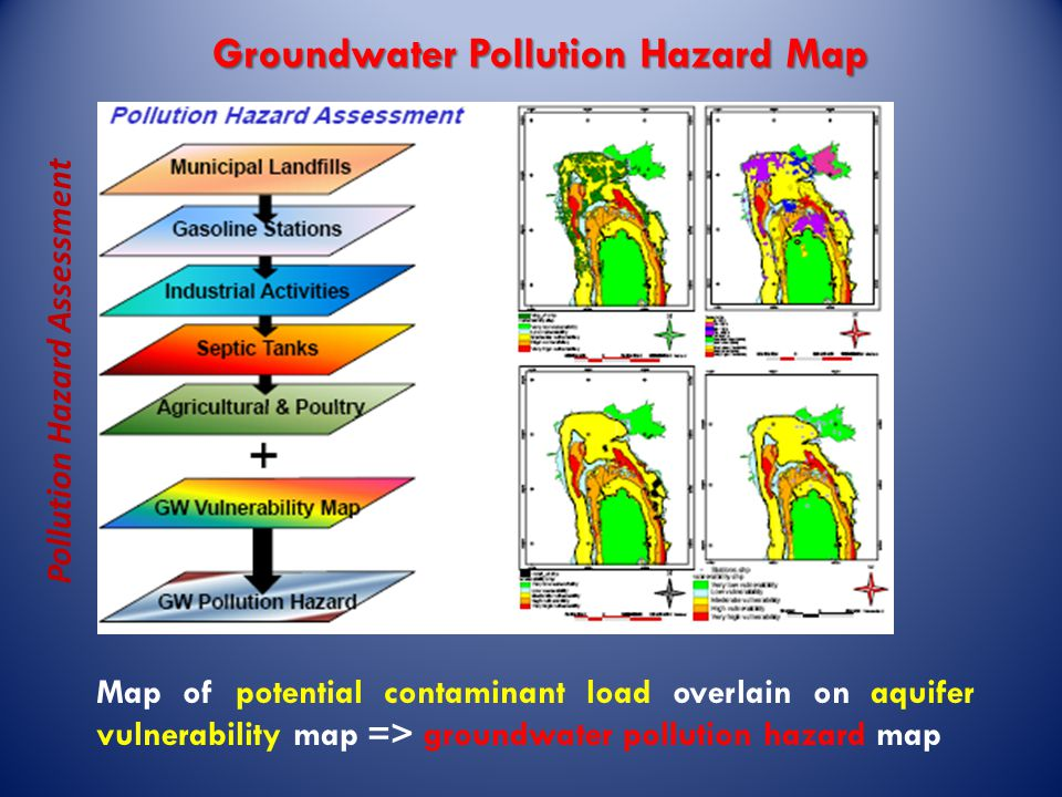 Groundwater Pollution Hazard Map Pollution Hazard Assessment Map of potential contaminant load overlain on aquifer vulnerability map => groundwater pollution hazard map