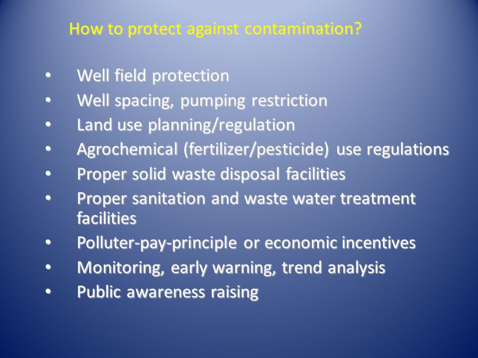 How to protect against contamination.