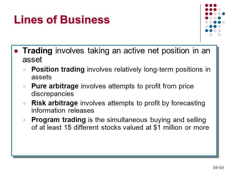 16-10 Lines of Business Trading involves taking an active net position in an asset Position trading involves relatively long-term positions in assets Pure arbitrage involves attempts to profit from price discrepancies Risk arbitrage involves attempts to profit by forecasting information releases Program trading is the simultaneous buying and selling of at least 15 different stocks valued at $1 million or more Trading involves taking an active net position in an asset Position trading involves relatively long-term positions in assets Pure arbitrage involves attempts to profit from price discrepancies Risk arbitrage involves attempts to profit by forecasting information releases Program trading is the simultaneous buying and selling of at least 15 different stocks valued at $1 million or more