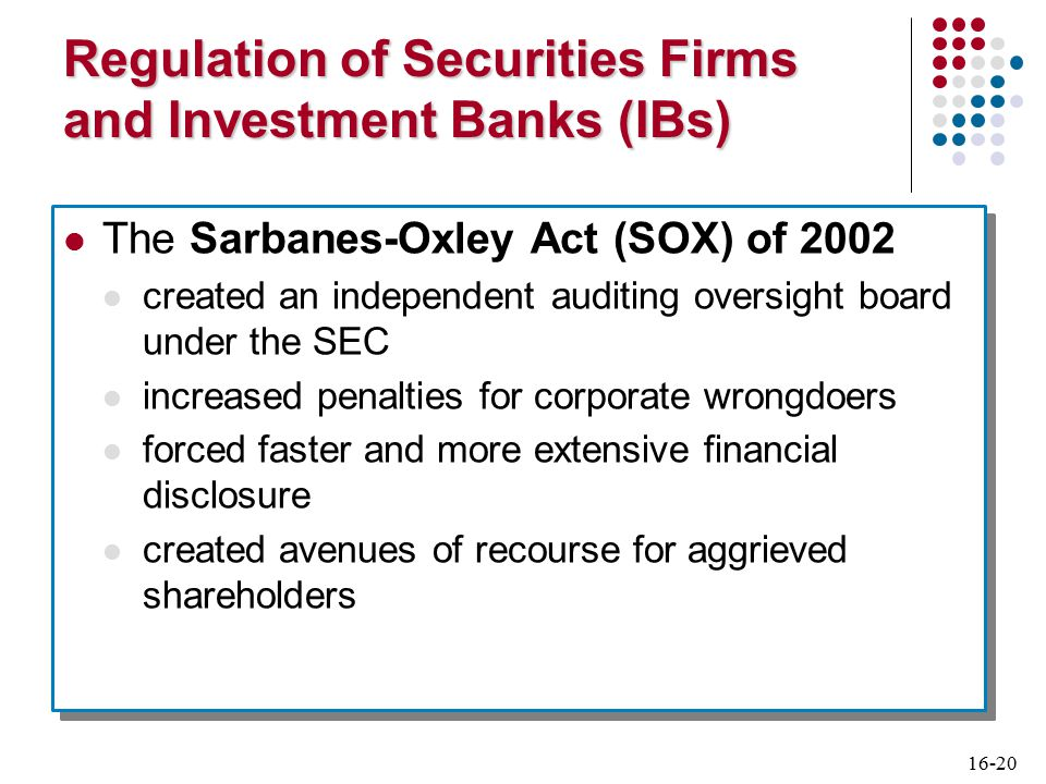 16-20 Regulation of Securities Firms and Investment Banks (IBs) The Sarbanes-Oxley Act (SOX) of 2002 created an independent auditing oversight board under the SEC increased penalties for corporate wrongdoers forced faster and more extensive financial disclosure created avenues of recourse for aggrieved shareholders The Sarbanes-Oxley Act (SOX) of 2002 created an independent auditing oversight board under the SEC increased penalties for corporate wrongdoers forced faster and more extensive financial disclosure created avenues of recourse for aggrieved shareholders