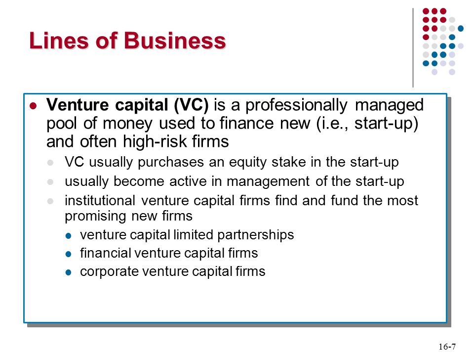 16-8 Lines of Business Private equity investments Private equity (PE) differs from VC in funds sources and in types of investments PE firms raise funds by selling securities rather than commingling private funds PE firms often acquire established existing firms rather than purchase start-ups Private equity investments Private equity (PE) differs from VC in funds sources and in types of investments PE firms raise funds by selling securities rather than commingling private funds PE firms often acquire established existing firms rather than purchase start-ups