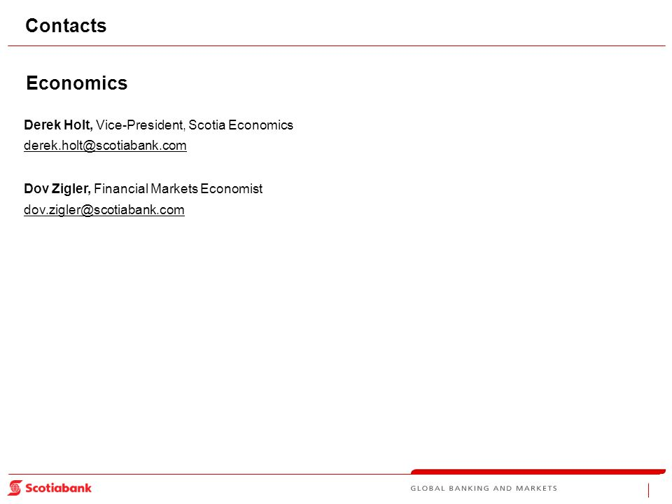 Contacts Economics Derek Holt, Vice-President, Scotia Economics derek.holt@scotiabank.com Dov Zigler, Financial Markets Economist dov.zigler@scotiabank.com