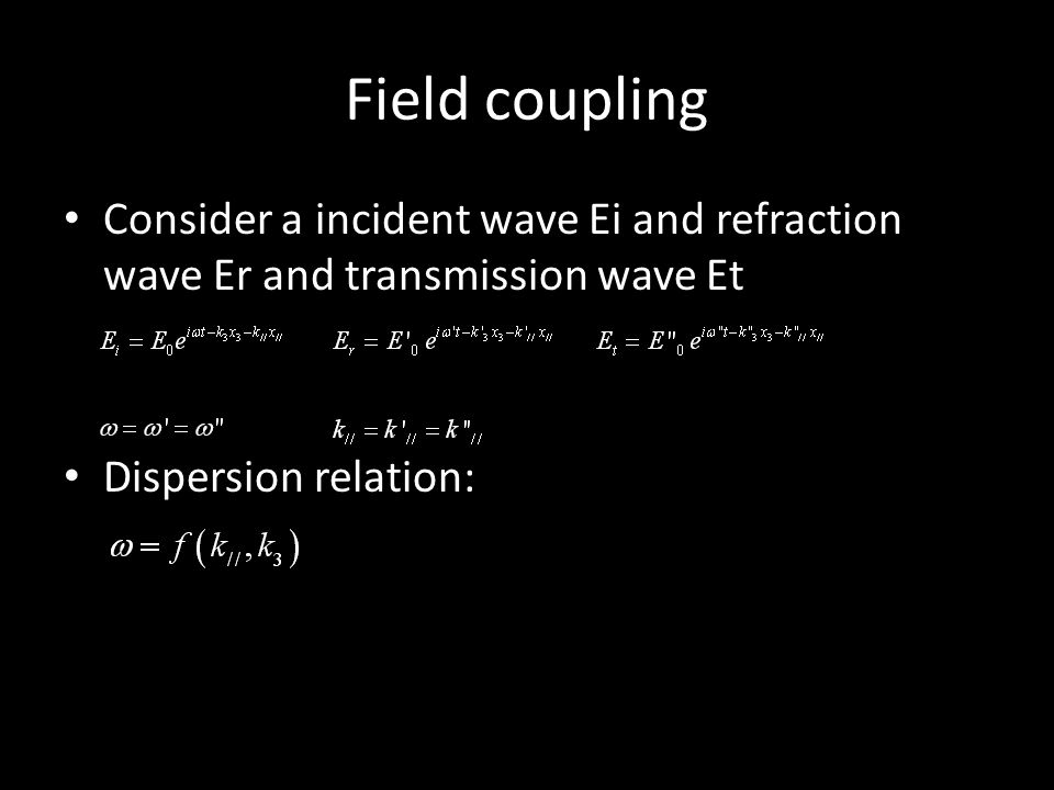 Field coupling Consider a incident wave Ei and refraction wave Er and transmission wave Et Dispersion relation: