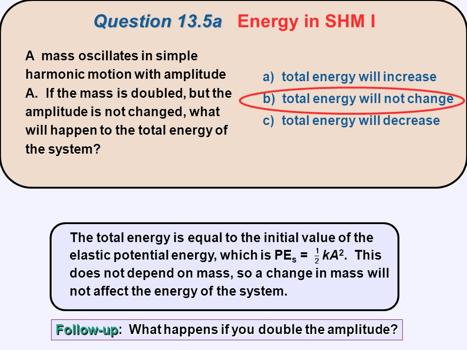 A mass oscillates in simple harmonic motion with amplitude A. If the mass is doubled, but the amplitude is not changed, what will happen to the total