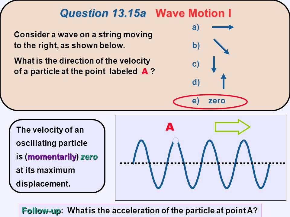 Question 13.15aWave Motion I Question 13.15a Wave Motion I Consider a wave on a string moving to the right, as shown below. What is the direction of t