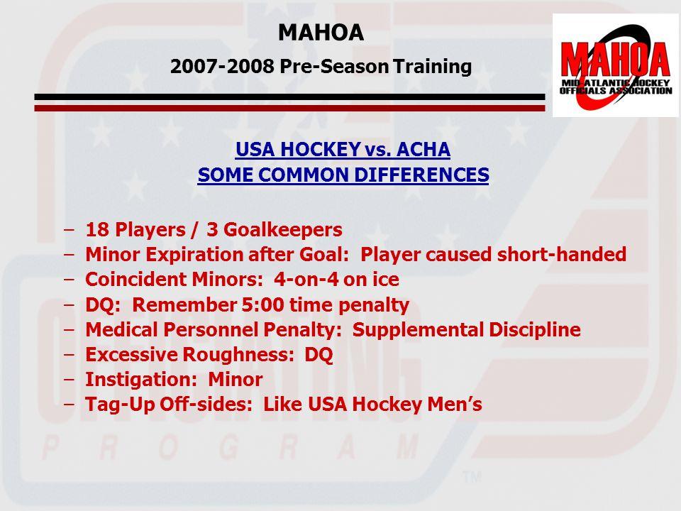 MAHOA 2007-2008 Pre-Season Training USA HOCKEY vs.