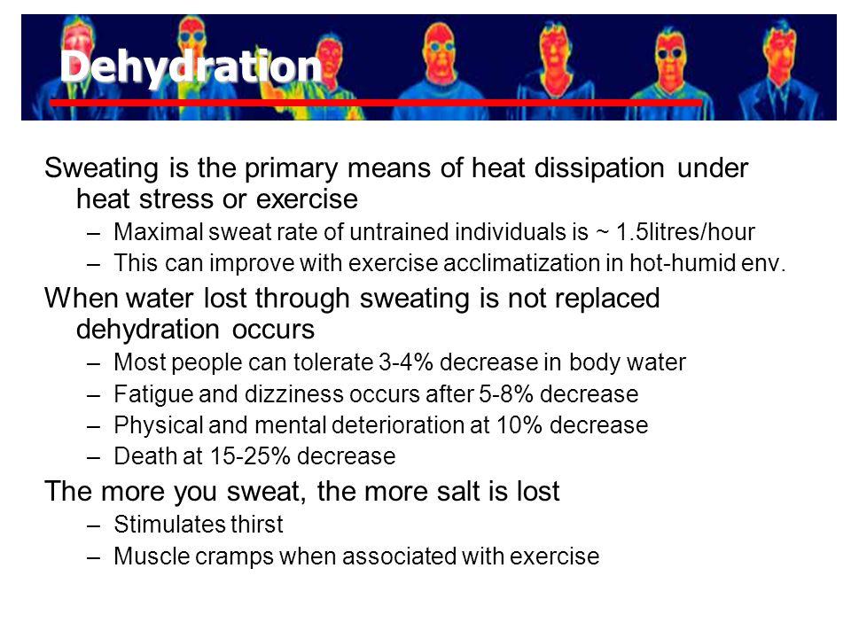 Working in the heat Sweat rate Heart rate Core temp Heat stress Heat strain Zone A Zone B (prescriptive zone) Zone C