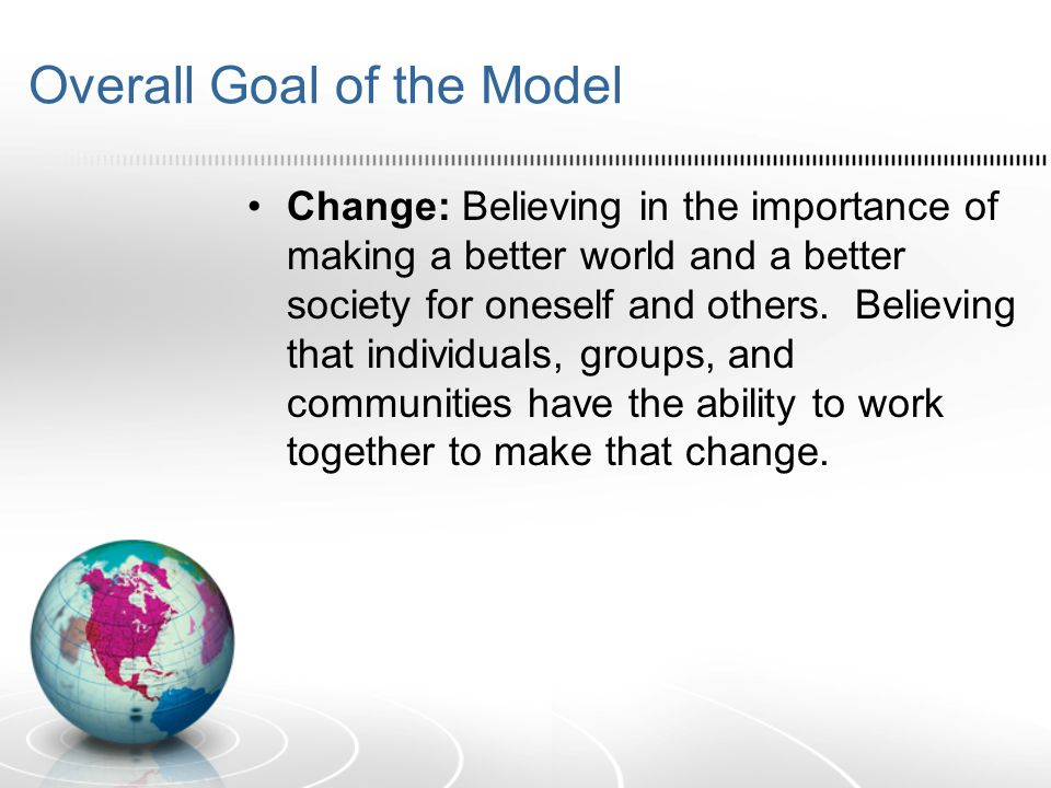Overall Goal of the Model Change: Believing in the importance of making a better world and a better society for oneself and others.