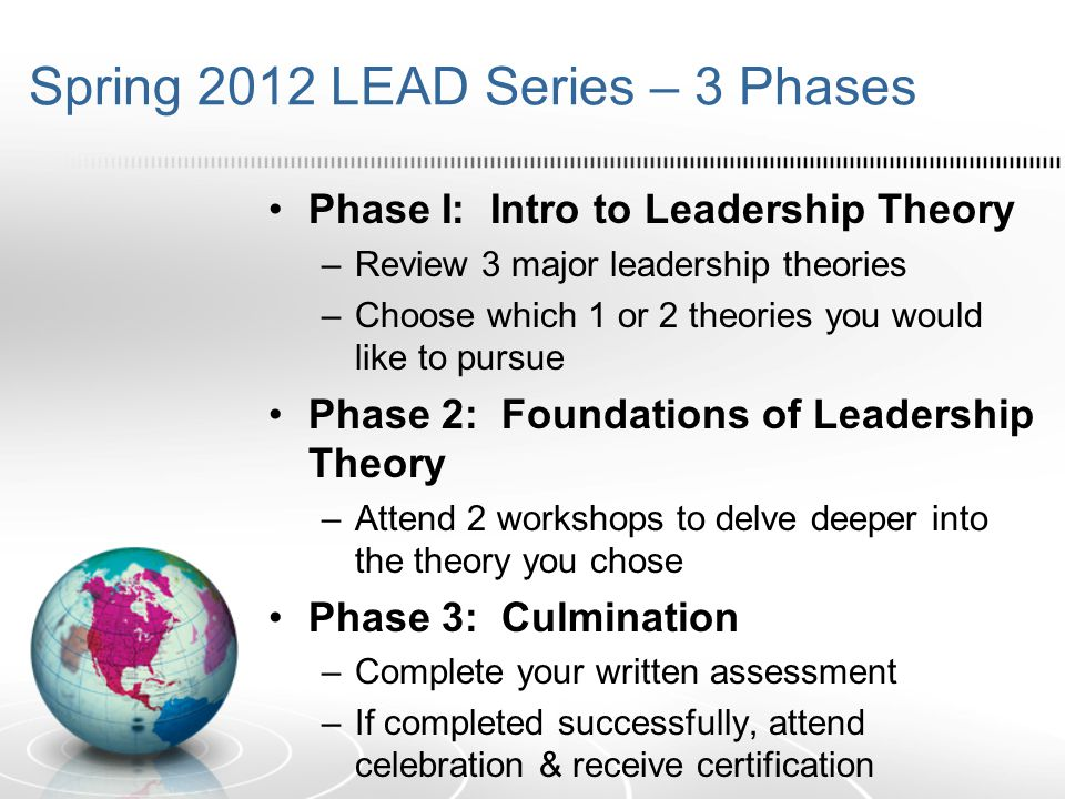 Spring 2012 LEAD Series – 3 Phases Phase I: Intro to Leadership Theory –Review 3 major leadership theories –Choose which 1 or 2 theories you would like to pursue Phase 2: Foundations of Leadership Theory –Attend 2 workshops to delve deeper into the theory you chose Phase 3: Culmination –Complete your written assessment –If completed successfully, attend celebration & receive certification
