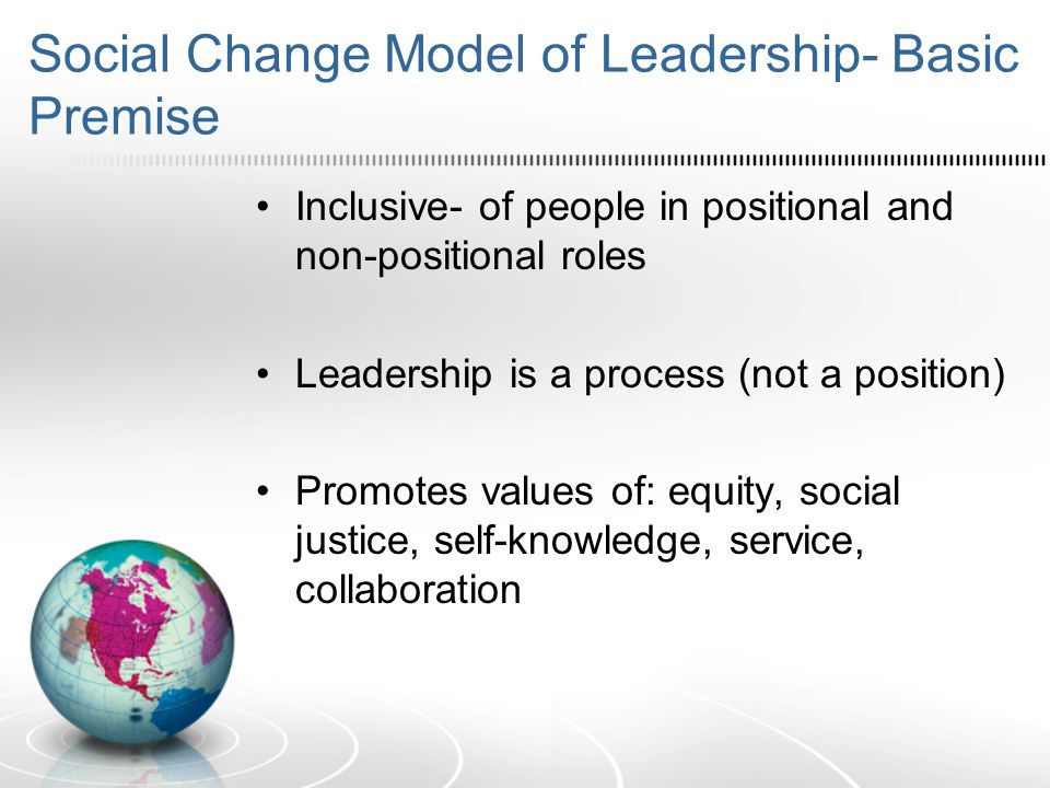 Social Change Model of Leadership- Basic Premise Inclusive- of people in positional and non-positional roles Leadership is a process (not a position) Promotes values of: equity, social justice, self-knowledge, service, collaboration