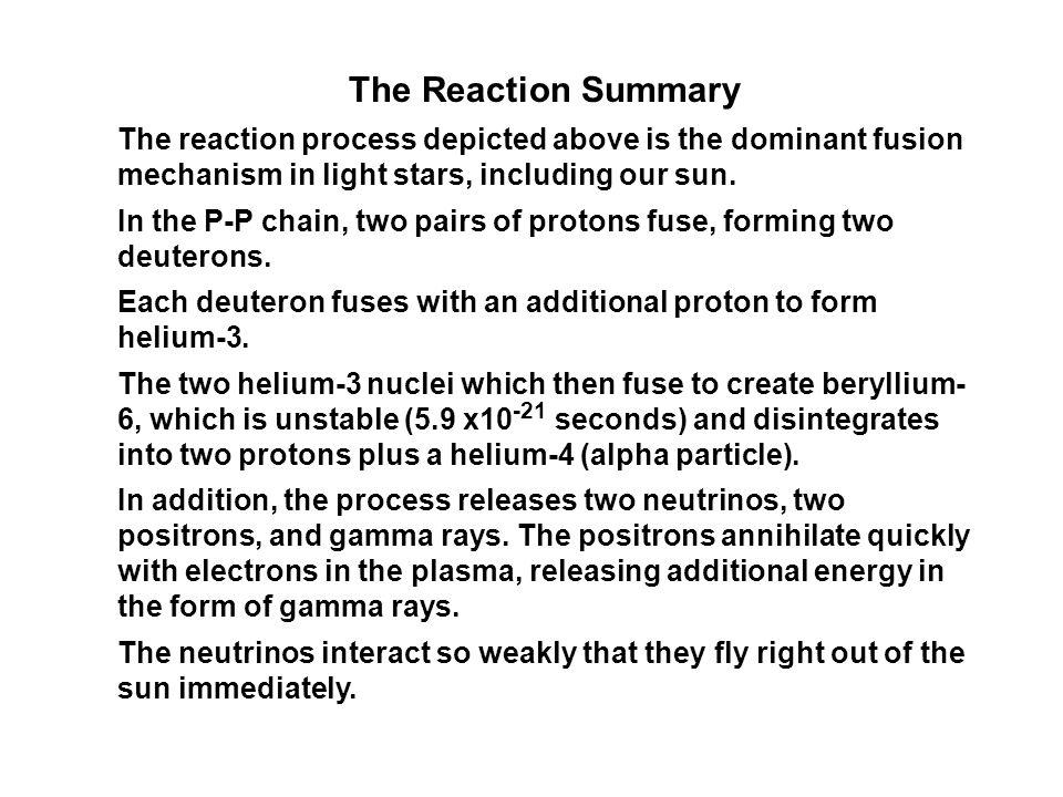 P-P : Solar Fusion Chain Summary Diagram