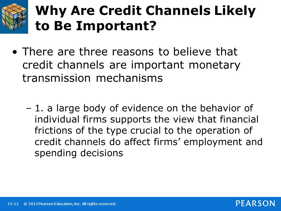 © 2013 Pearson Education, Inc. All rights reserved.25-13 Why Are Credit Channels Likely to Be Important? There are three reasons to believe that credi