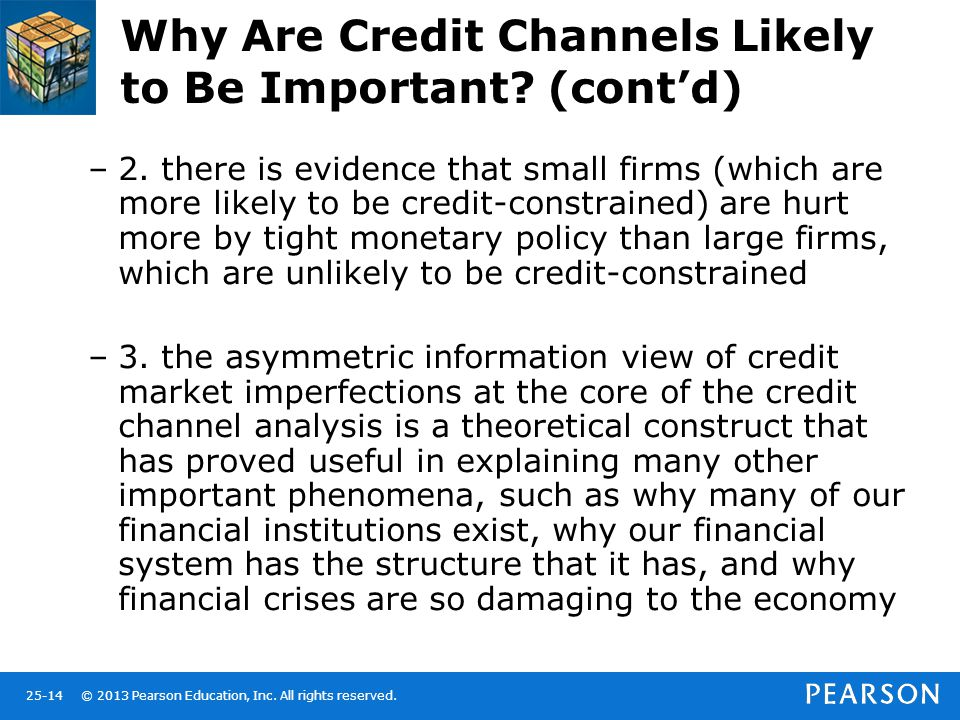 © 2013 Pearson Education, Inc. All rights reserved.25-14 Why Are Credit Channels Likely to Be Important? (cont'd) –2. there is evidence that small fir
