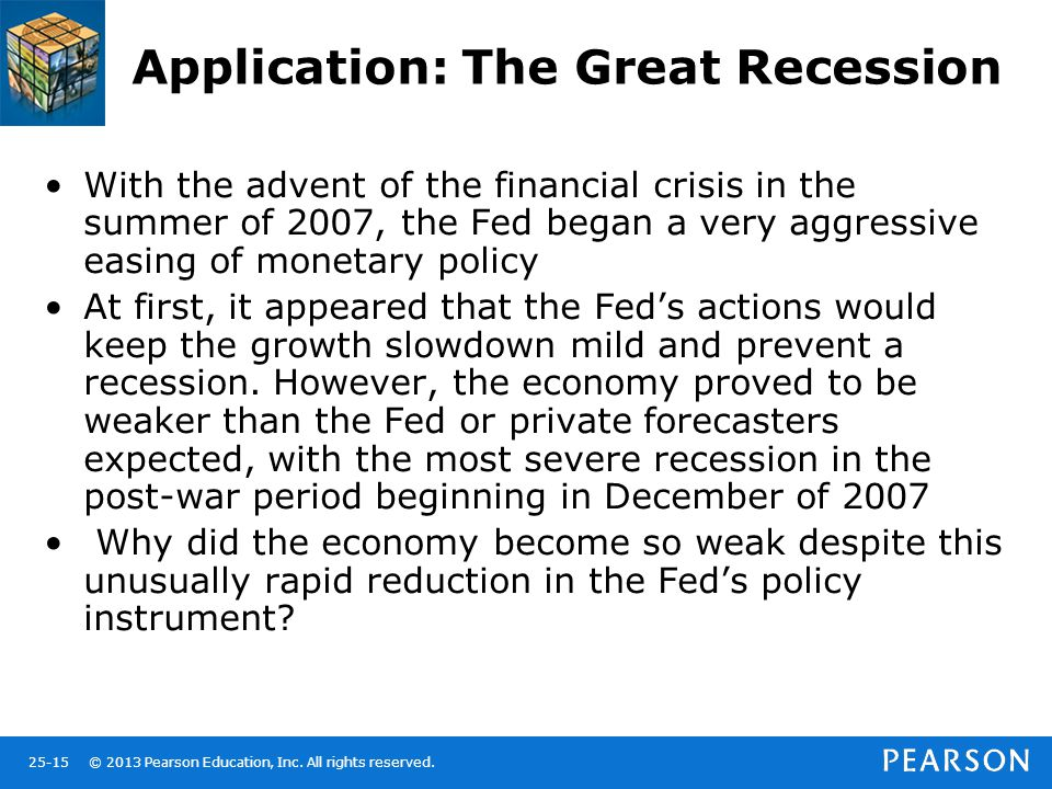 © 2013 Pearson Education, Inc. All rights reserved.25-15 Application: The Great Recession With the advent of the financial crisis in the summer of 200