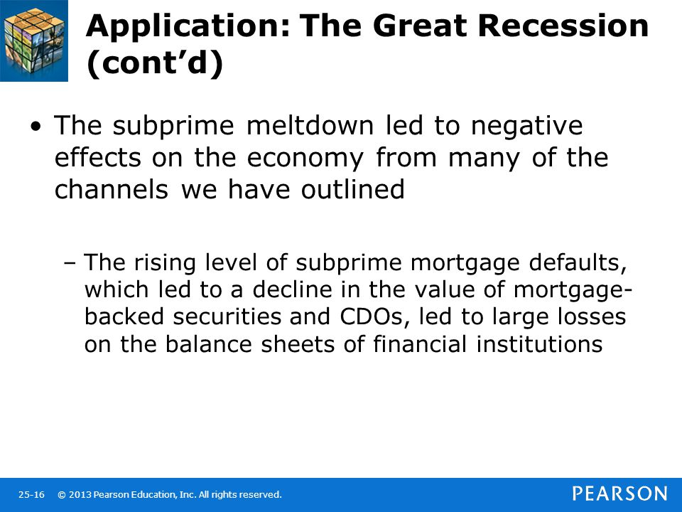 © 2013 Pearson Education, Inc. All rights reserved.25-16 Application: The Great Recession (cont'd) The subprime meltdown led to negative effects on th