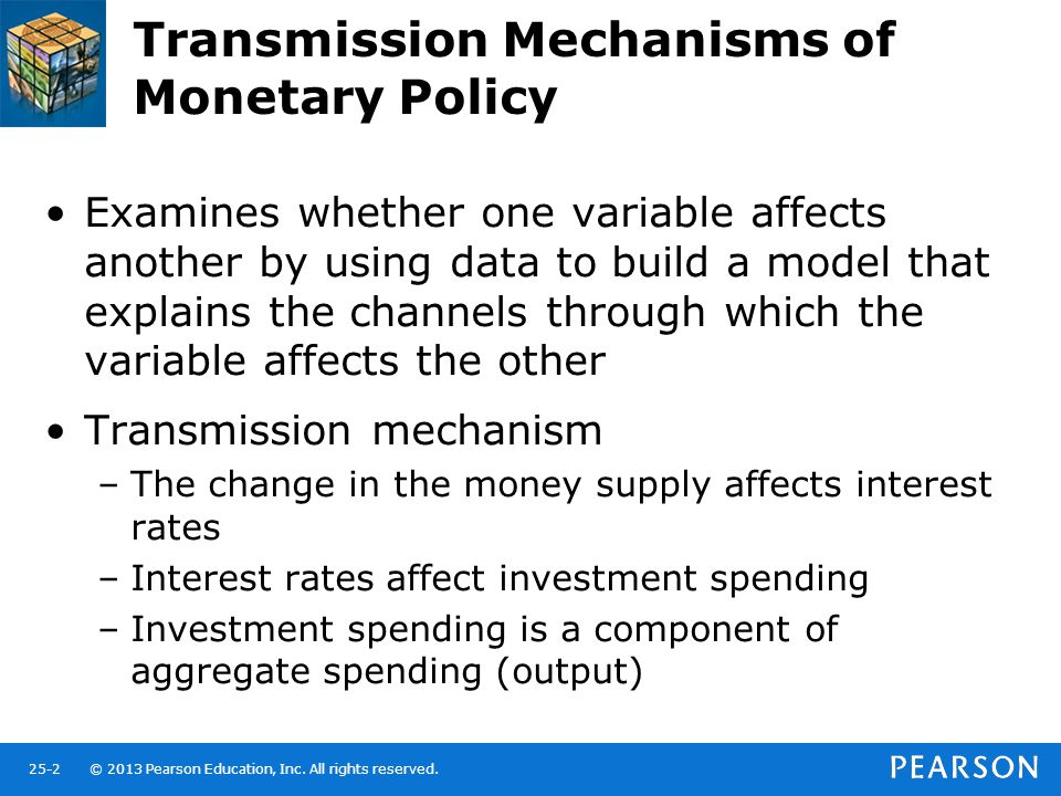 © 2013 Pearson Education, Inc. All rights reserved.25-2 Transmission Mechanisms of Monetary Policy Examines whether one variable affects another by us