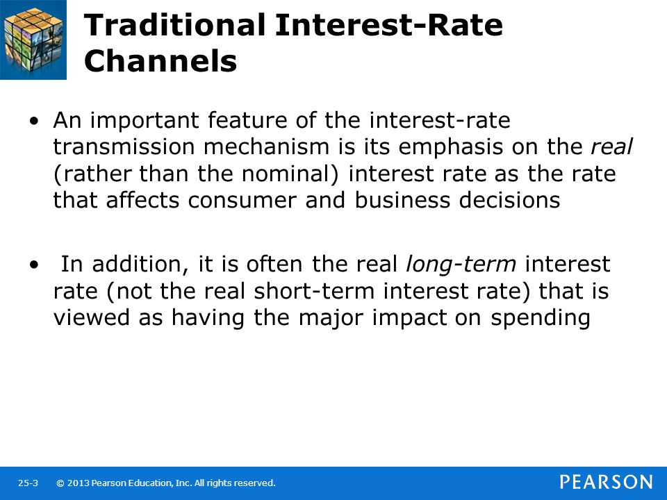 © 2013 Pearson Education, Inc. All rights reserved.25-3 Traditional Interest-Rate Channels An important feature of the interest-rate transmission mech