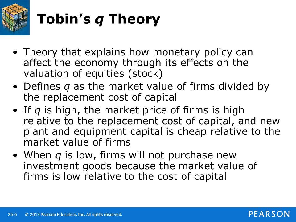 © 2013 Pearson Education, Inc. All rights reserved.25-6 Tobin's q Theory Theory that explains how monetary policy can affect the economy through its e