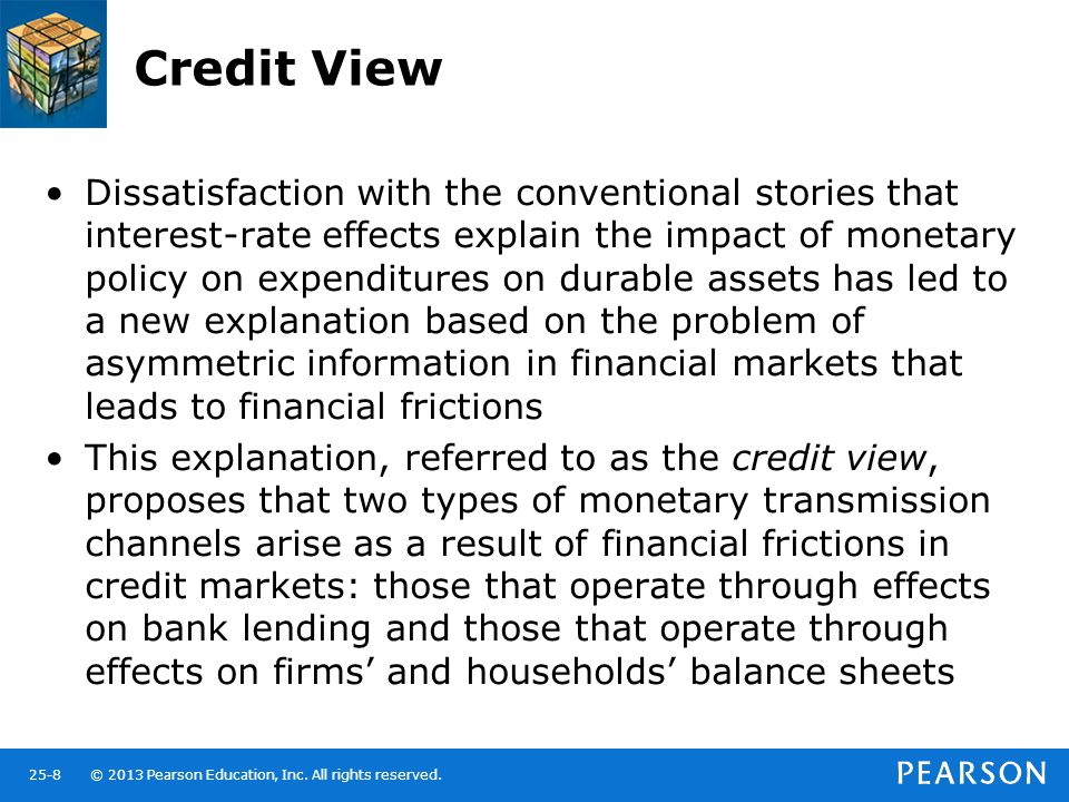 © 2013 Pearson Education, Inc. All rights reserved.25-8 Credit View Dissatisfaction with the conventional stories that interest-rate effects explain t