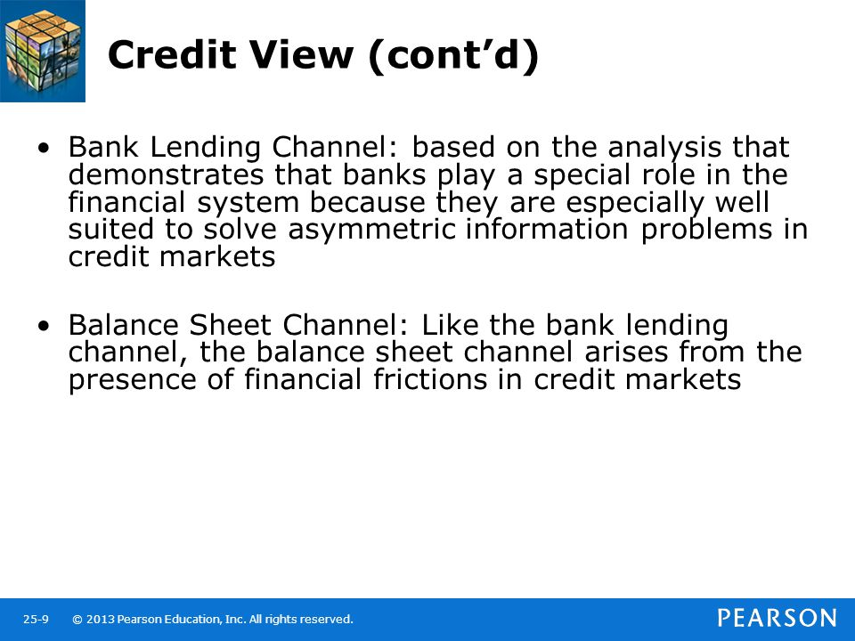 © 2013 Pearson Education, Inc. All rights reserved.25-9 Credit View (cont'd) Bank Lending Channel: based on the analysis that demonstrates that banks