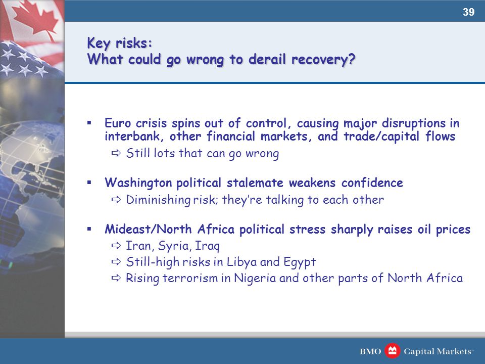 39 Key risks: What could go wrong to derail recovery.