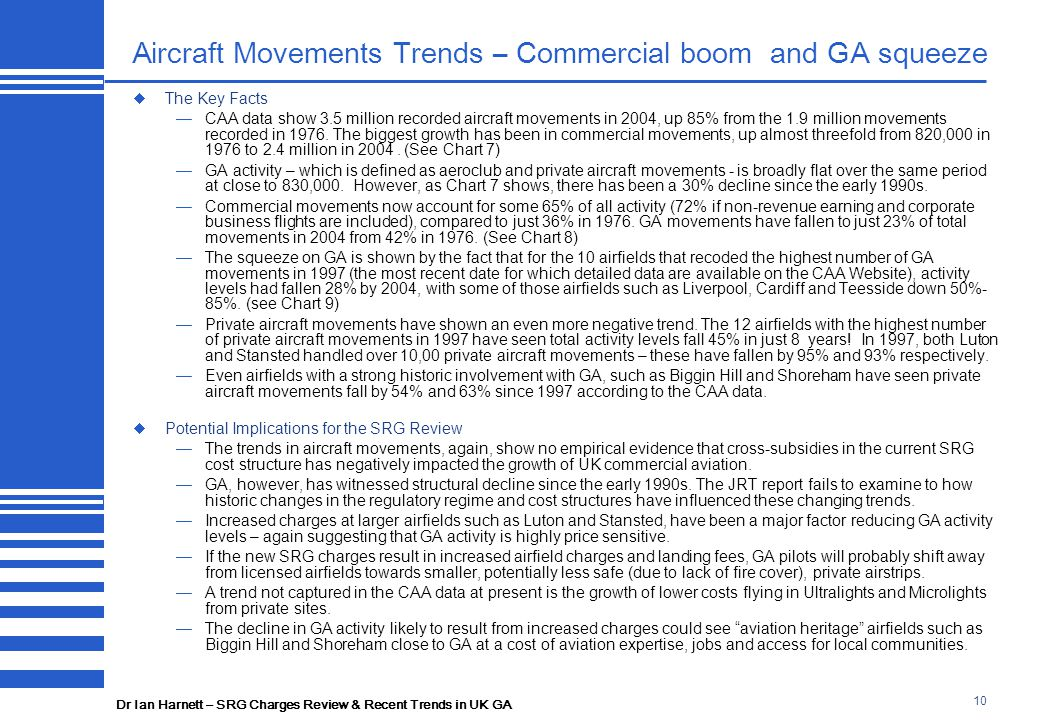 Dr Ian Harnett – SRG Charges Review & Recent Trends in UK GA 10 Aircraft Movements Trends – Commercial boom and GA squeeze  The Key Facts —CAA data show 3.5 million recorded aircraft movements in 2004, up 85% from the 1.9 million movements recorded in 1976.