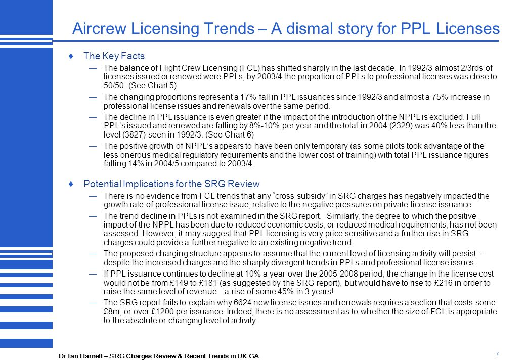 Dr Ian Harnett – SRG Charges Review & Recent Trends in UK GA 7 Aircrew Licensing Trends – A dismal story for PPL Licenses  The Key Facts —The balance of Flight Crew Licensing (FCL) has shifted sharply in the last decade.