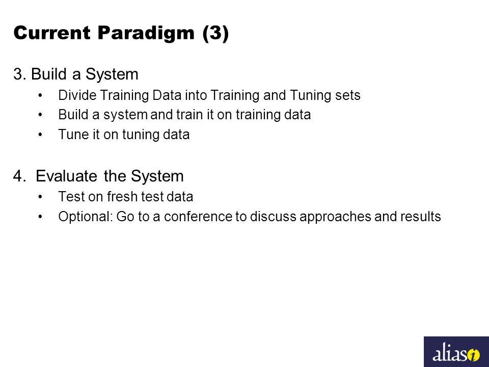 Current Paradigm (3) 3. Build a System Divide Training Data into Training and Tuning sets Build a system and train it on training data Tune it on tuni