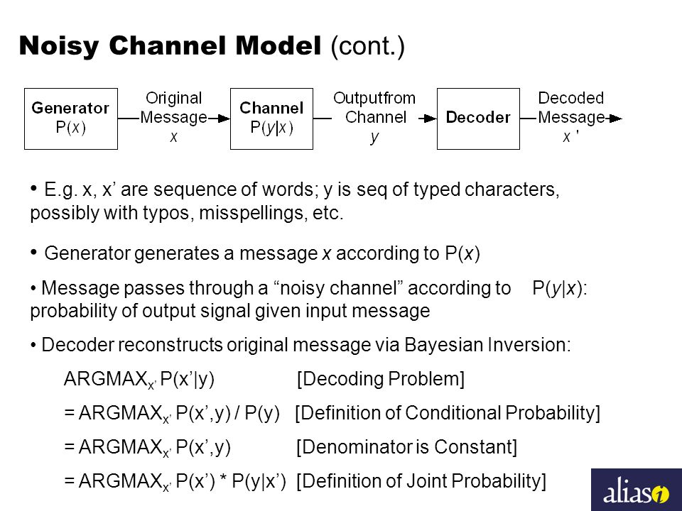 Noisy Channel Model (cont.) E.g. x, x' are sequence of words; y is seq of typed characters, possibly with typos, misspellings, etc. Generator generate