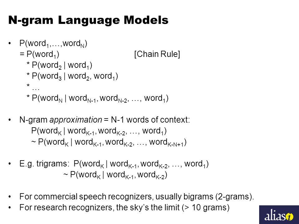 N-gram Language Models P(word 1,…,word N ) = P(word 1 ) [Chain Rule] * P(word 2 | word 1 ) * P(word 3 | word 2, word 1 ) * … * P(word N | word N-1, wo