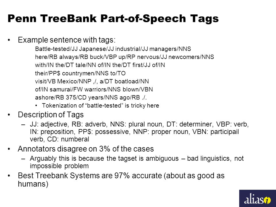 Penn TreeBank Part-of-Speech Tags Example sentence with tags: Battle-tested/JJ Japanese/JJ industrial/JJ managers/NNS here/RB always/RB buck/VBP up/RP nervous/JJ newcomers/NNS with/IN the/DT tale/NN of/IN the/DT first/JJ of/IN their/PP$ countrymen/NNS to/TO visit/VB Mexico/NNP,/, a/DT boatload/NN of/IN samurai/FW warriors/NNS blown/VBN ashore/RB 375/CD years/NNS ago/RB./.