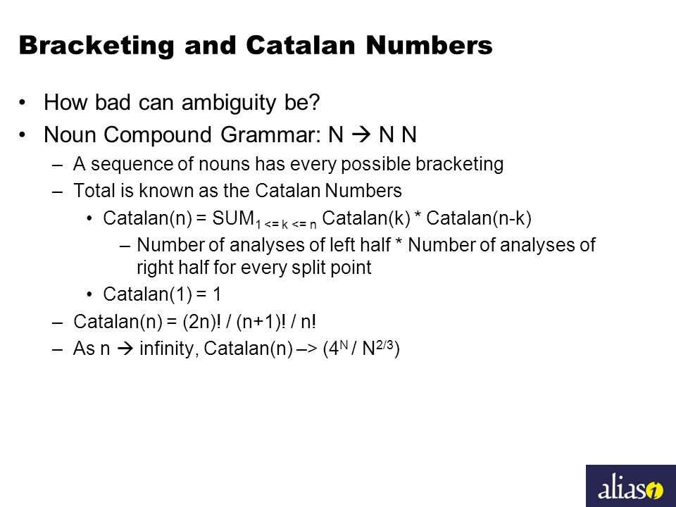 Bracketing and Catalan Numbers How bad can ambiguity be.